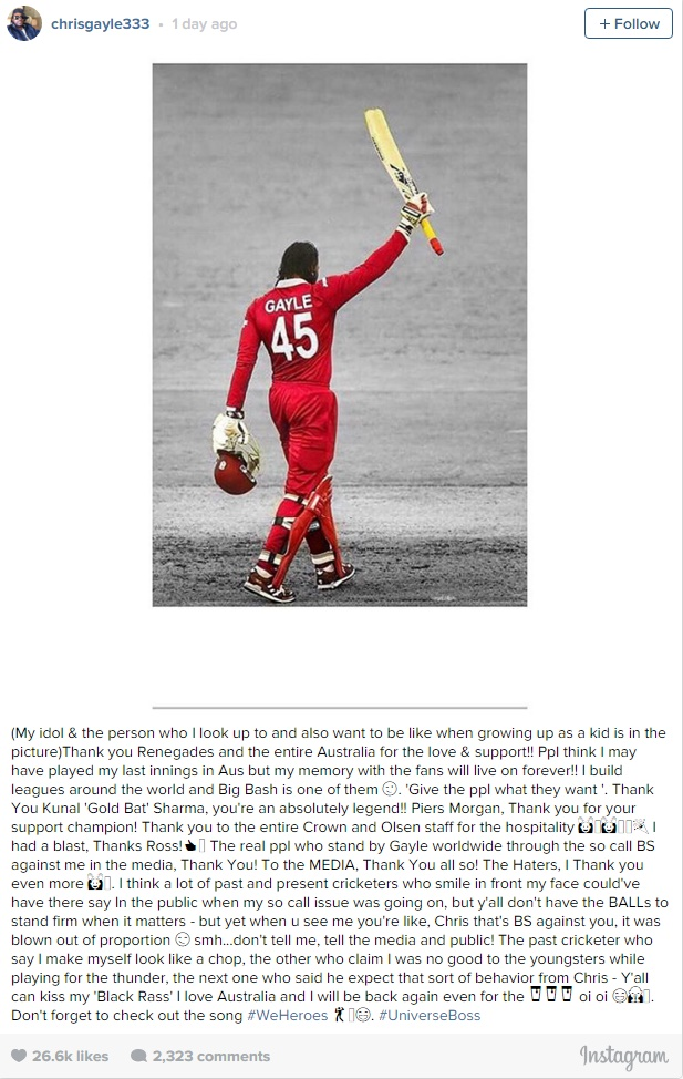 chris gayle instagram Chris Gayle Dresses Down Haters That Criticized Him With Post On Social Media