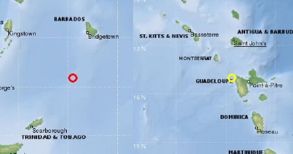 barbados and guadeloupe earthquake