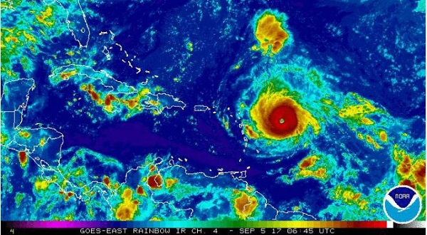 Hurricane Irma Hits A Monstrous Category 5 On The Hurricane Wind Scale